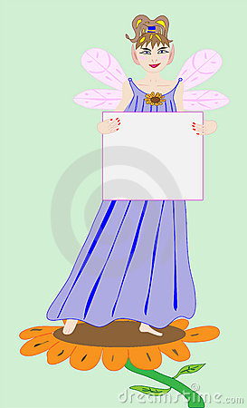 Fairy Princess Holding a Blank Sign
