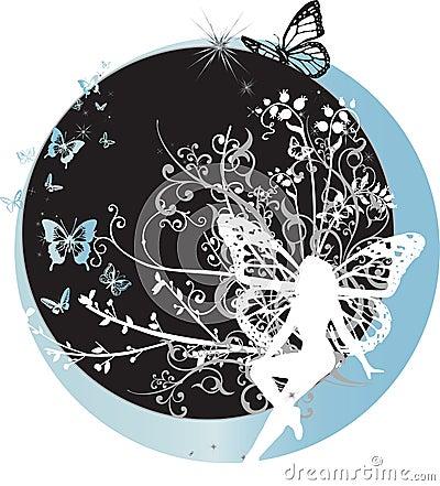 Fairy que senta-se no crescente