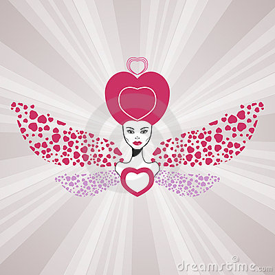 Fairy queen of love with hearts wings. Valentine
