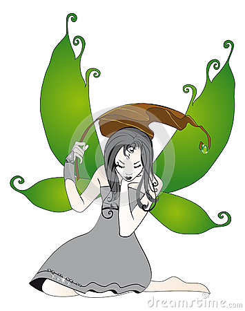 Fairy in the rain isolated