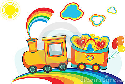 Fairy rainbow train with happy hearts and balloons