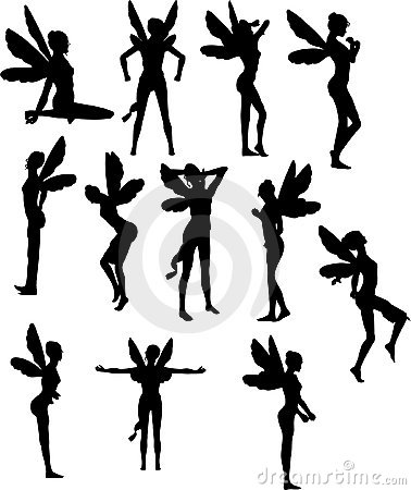 Multiple Silhouettes of Fairies or Sprites.