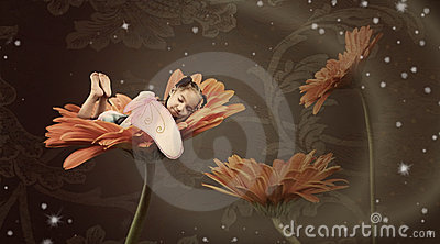 Fairy sleeping in a flower