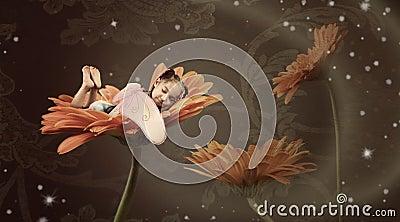 Fairy sleeping in a flower