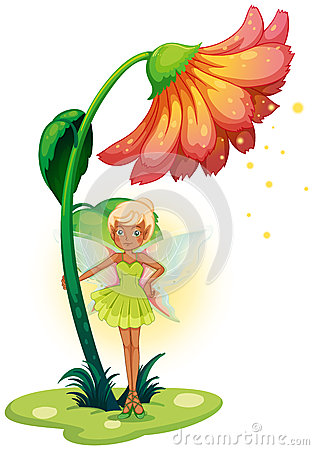 A fairy standing below the flower