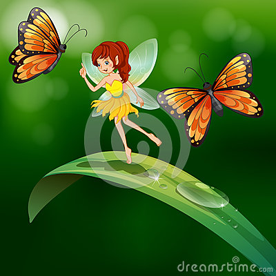 A fairy standing in a leaf with butterflies