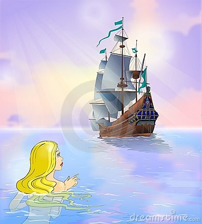 Fairy tale 2. Mermaid looks at a ship.