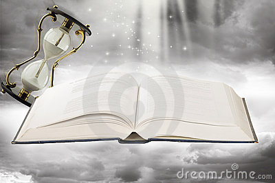 Fairy-tale book and sand-glasses
