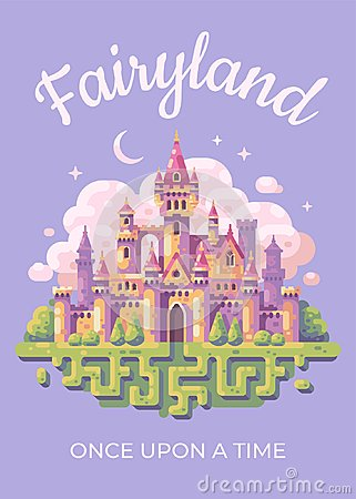 Fairy tale castle flat illustration poster. Fairyland kid book cover Vector Illustration