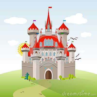 Free Fairy-tale Castle. Vector Imagination Child Illustration Royalty Free Stock Photo - 55198005