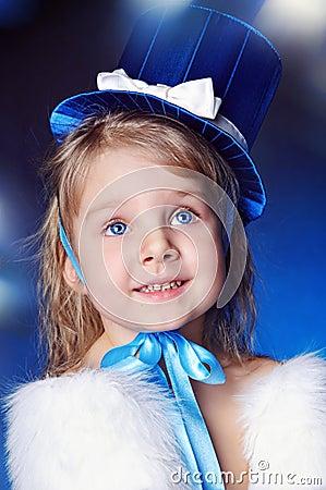A fairy-tale girl is in dark blue
