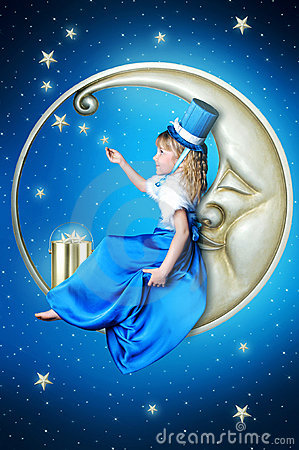 Fairy-tale girl on the moon