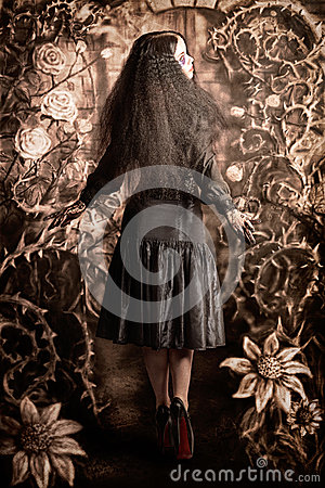 Free Fairy Tale Girl Walking Through Secret Garden Royalty Free Stock Photo - 30632895