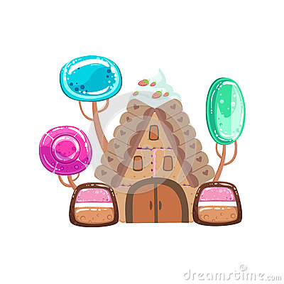 Free Fairy Tale House With Candy Trees Fantasy Candy Land Sweet Landscape Element Royalty Free Stock Photography - 80552297