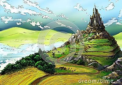 Fairy tale landscape with castle Stock Photo