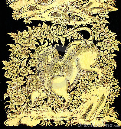 Fairy tale leo in traditional Thai style art