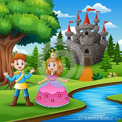 Free Fairy Tale Of Beautiful Princess And Prince On The Edge Of The River Stock Photos - 130745773