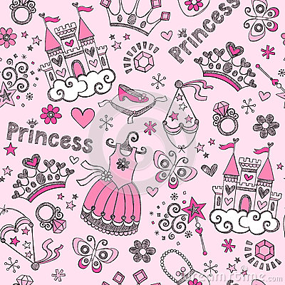 Fairy Tale Princess Pattern Sketchy Doodles Vector