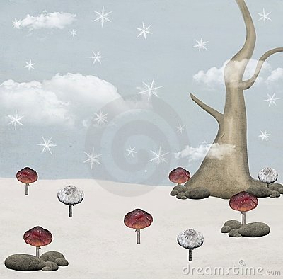 Fairy tale series - mushrooms field