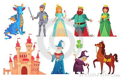 Fairy tales characters. Fantasy knight and dragon, prince and princess, magic world queen and king isolated cartoon Vector Illustration