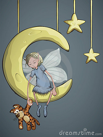 Fairy with a tiger on the crescent moon