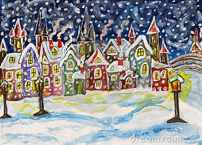 Fairy town in winter, handdrawn painting