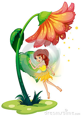 A fairy under a giant flower