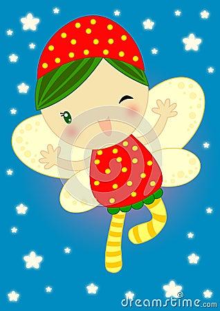 Fairy vermelho feliz do firefly
