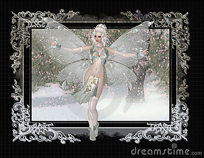 Fairy on Winter Painting Background