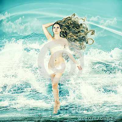 Free Fairy Woman - Aphrodite In Sea Waves Stock Photos - 35985363
