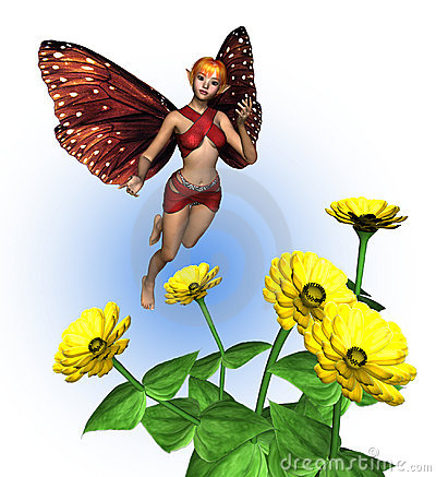 Fairy with Zinnias - includes clipping path
