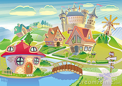 Fairyland with little village, castle, windmill