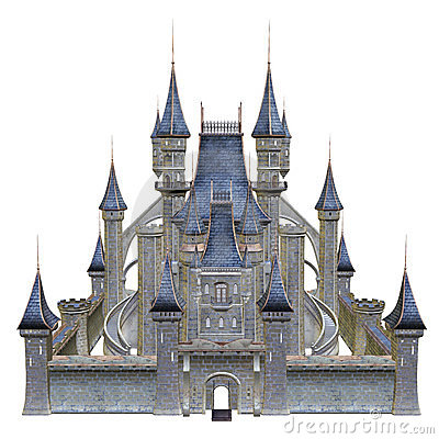Fairytale castle with blue towers