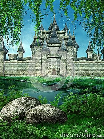 Fairytale castle on a meadow
