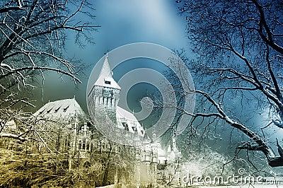 Fairytale castle at night Stock Photo