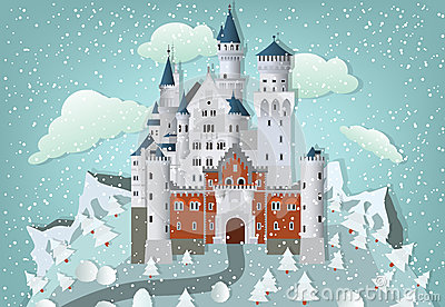 Fairytale castle in winter Vector Illustration