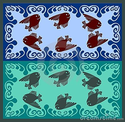Fairytale fishes swiming in wave foam