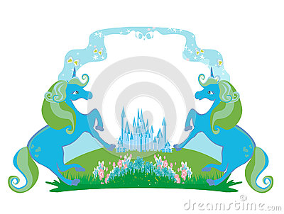 Fairytale frame with magic castle and unicorns Vector Illustration