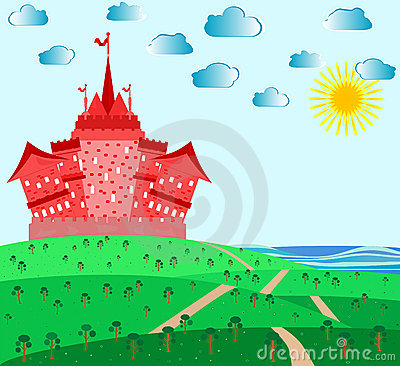 Fairytale landscape with red magic castle