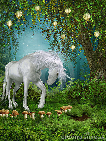 Free Fairytale Meadow With A Unicorn Stock Image - 21838501