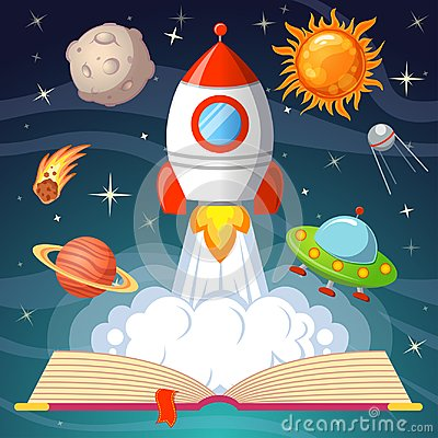 Free Fairytale Open Book With Spaceship, Sun, Moon, Saturn, UFO, Comet Royalty Free Stock Photo - 121948235