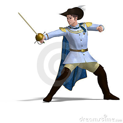 Fairytale prince with sword and cape. 3D rendering with clipping path ...