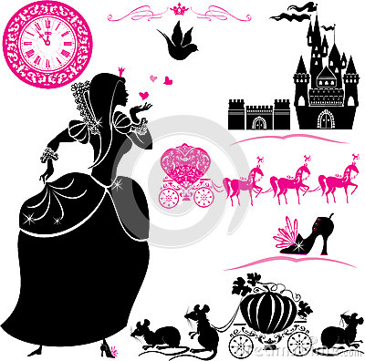 Free Fairytale Set - Silhouettes Of Cinderella, Pumpkin Royalty Free Stock Images - 35064069