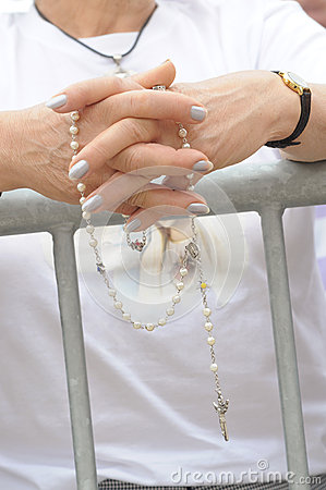 Faith - Older Female Hands in Prayer with Rosary