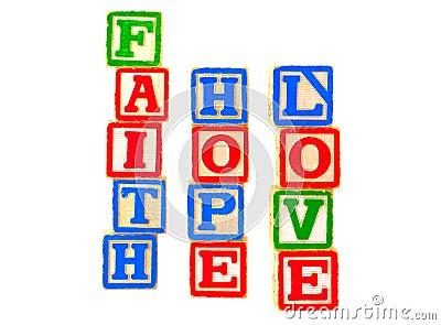 Faith, Hope, Love Letter Blocks Vertical 2