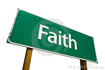 Faith road sign isolated on white.