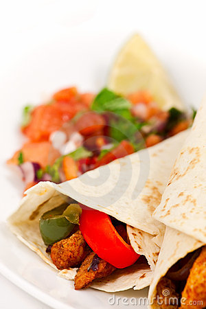 Free Fajita Wraps With Peppers And Salsa Stock Photo - 12999070