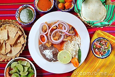 Fajitas mexican food with rice frijoles