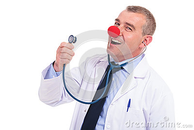 Fake doctor  singing a song at his stethoscope