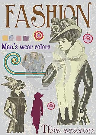 Fake vintage fashion magazine cover illustration